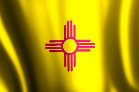 New Mexico stylish waving and closeup flag illustration. Perfect for background or texture purposes.