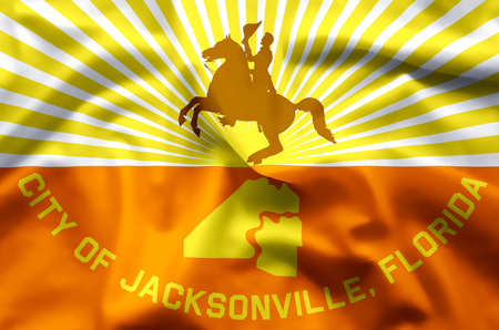 Jacksonville Florida stylish waving and closeup flag illustration. Perfect for background or texture purposes. Stock Illustration - 119142502