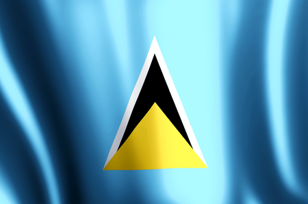 Saint lucia stylish waving and closeup flag illustration. Perfect for background or texture purposes. Banque d'images - 119142503