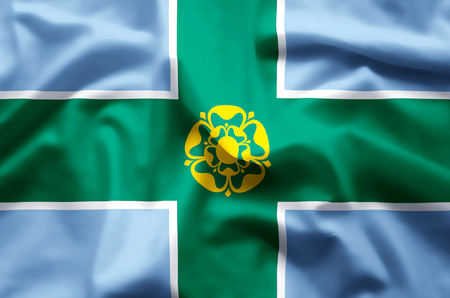 Derbyshire stylish waving and closeup flag illustration. Perfect for background or texture purposes.