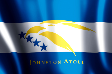 Johnston Atoll stylish waving and closeup flag illustration. Perfect for background or texture purposes. 写真素材