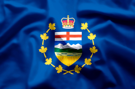 Lieutenant-Governor Of Alberta stylish waving and closeup flag illustration. Perfect for background or texture purposes.