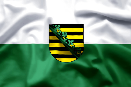 Saxony  stylish waving and closeup flag illustration. Perfect for background or texture purposes.