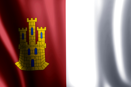 Castilla La Mancha stylish waving and closeup flag illustration. Perfect for background or texture purposes.
