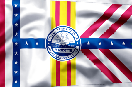 Tampa Florida stylish waving and closeup flag illustration. Perfect for background or texture purposes.