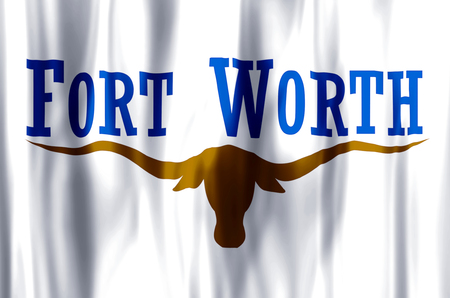 Fort Worth Texas stylish waving and closeup flag illustration. Perfect for background or texture purposes. Stock Photo