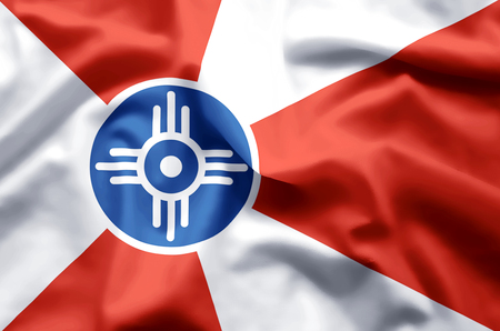 Wichita Kansas stylish waving and closeup flag illustration. Perfect for background or texture purposes.
