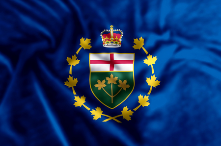Lieutenant-Governor Of Ontario stylish waving and closeup flag illustration. Perfect for background or texture purposes.