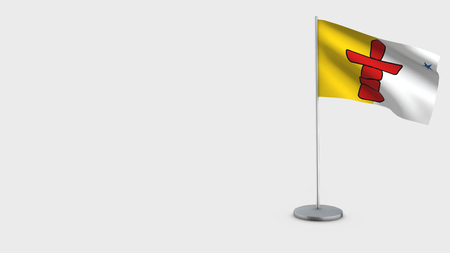 Nunavut 3D Flag isolated on white background. Waving in wind on steel flagpole.