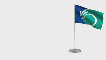 Ottawa Ontario 3D Flag isolated on white background. Waving in wind on steel flagpole.