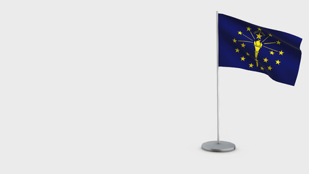 Indiana 3D Flag isolated on white background. Waving in wind on steel flagpole.