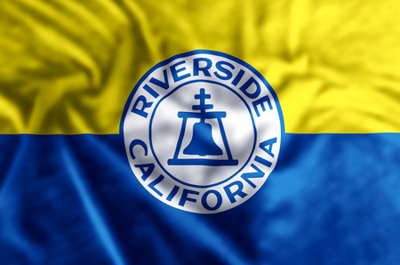 Riverside California stylish waving and closeup flag illustration. Perfect for background or texture purposes. Stock fotó