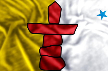 Nunavut stylish waving and closeup flag illustration. Perfect for background or texture purposes.