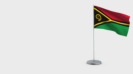 Vanuatu 3D Flag isolated on white background. Waving in wind on steel flagpole.