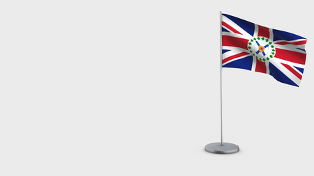 Lieutenant-Governor Of Nova Scotia 3D Flag isolated on white background. Waving in wind on steel flagpole.