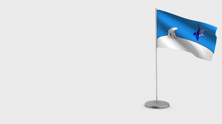Franco-Yukonnais 3D Flag isolated on white background. Waving in wind on steel flagpole.