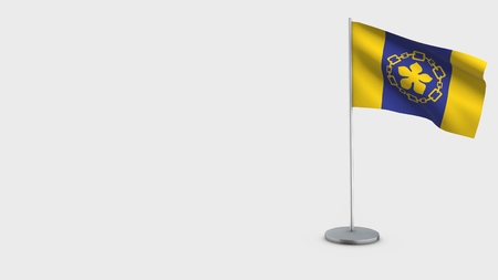Hamilton 3D Flag isolated on white background. Waving in wind on steel flagpole. Stock Photo
