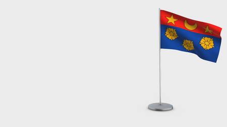 Drapeau Ville Ca Longueuil Quebec 3D Flag isolated on white background. Waving in wind on steel flagpole.