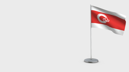 Calgary Alberta 3D Flag isolated on white background. Waving in wind on steel flagpole.