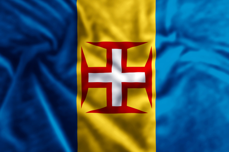 Madeira stylish waving and closeup flag illustration. Perfect for background or texture purposes. Banco de Imagens