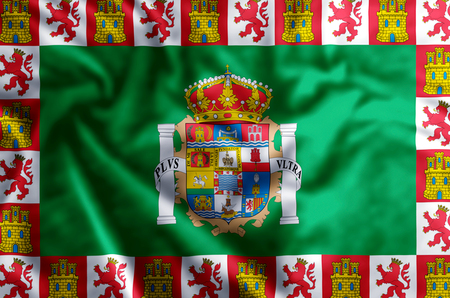 Cadiz stylish waving and closeup flag illustration. Perfect for background or texture purposes. Фото со стока