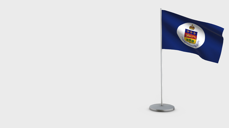 Lieutenant-Governor Of Quebec 3D Flag isolated on white background. Waving in wind on steel flagpole.