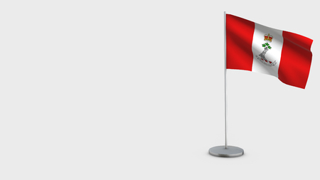 Royal Military College Of Canada 3D Flag isolated on white background. Waving in wind on steel flagpole. Stock Photo