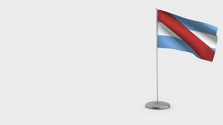 Entre Rios 3D Flag isolated on white background. Waving in wind on steel flagpole.