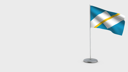 Franco-Terreneuviens 3D Flag isolated on white background. Waving in wind on steel flagpole.
