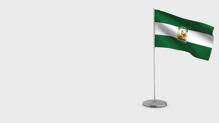 Andalucia 3D Flag isolated on white background. Waving in wind on steel flagpole.