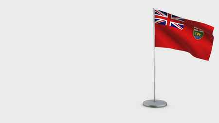 Manitoba 3D Flag isolated on white background. Waving in wind on steel flagpole.