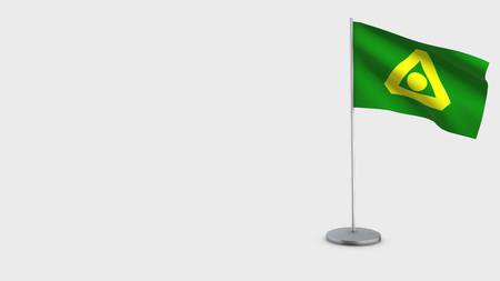 Delta British Columbia 3D Flag isolated on white background. Waving in wind on steel flagpole. Stock Photo