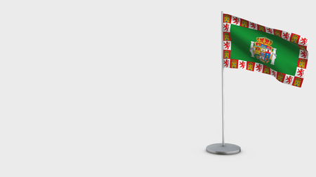 Cadiz 3D Flag isolated on white background. Waving in wind on steel flagpole.