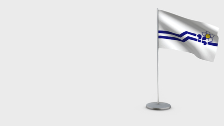 Franco-Colombiens 3D Flag isolated on white background. Waving in wind on steel flagpole. Stock Photo