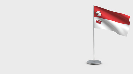 Guelph 3D Flag isolated on white background. Waving in wind on steel flagpole.