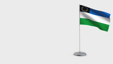 Rio Negro 3D Flag isolated on white background. Waving in wind on steel flagpole. Reklamní fotografie