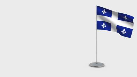 Quebec 3D Flag isolated on white background. Waving in wind on steel flagpole.
