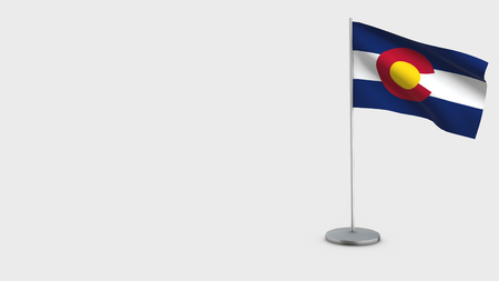 Colorado 3D Flag isolated on white background. Waving in wind on steel flagpole.
