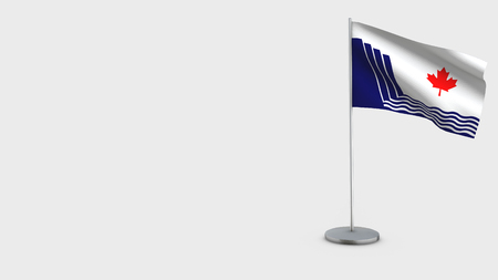 Scarborough Ontario 3D Flag isolated on white background. Waving in wind on steel flagpole.