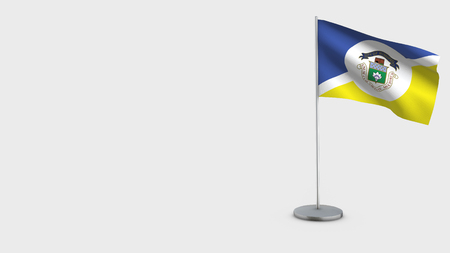 Winnipeg 3D Flag isolated on white background. Waving in wind on steel flagpole.