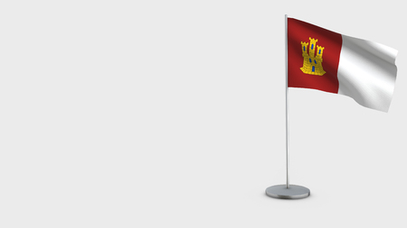 Castilla La Mancha 3D Flag isolated on white background. Waving in wind on steel flagpole.