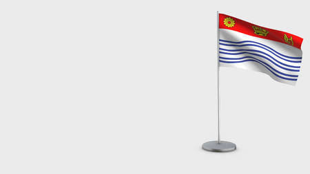 Flag Of Barrie 3D Flag isolated on white background. Waving in wind on steel flagpole. Stock Photo