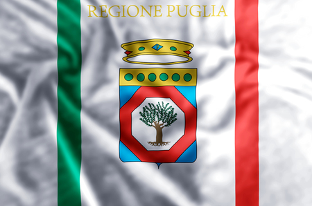 Apulia stylish waving and closeup flag illustration. Perfect for background or texture purposes. Reklamní fotografie - 119710072