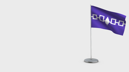 Iroquois Confederacy 3D Flag isolated on white background. Waving in wind on steel flagpole.