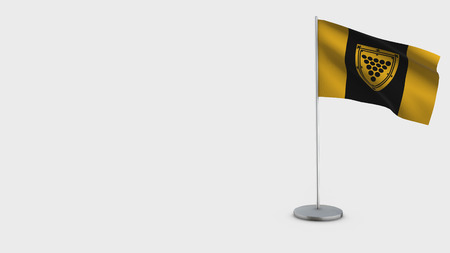 Cornwall Ontario 3D Flag isolated on white background. Waving in wind on steel flagpole. Imagens