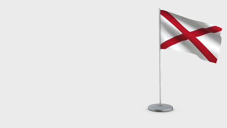 Alabama 3D Flag isolated on white background. Waving in wind on steel flagpole.