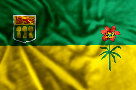 Saskatchewan stylish waving and closeup flag illustration. Perfect for background or texture purposes.