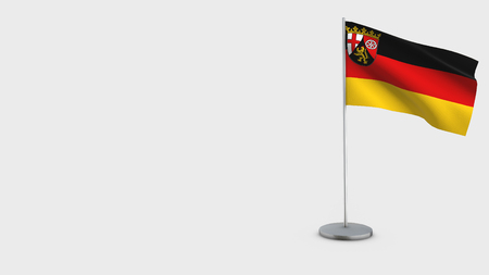 Rhineland-Palatinate 3D Flag isolated on white background. Waving in wind on steel flagpole. Imagens