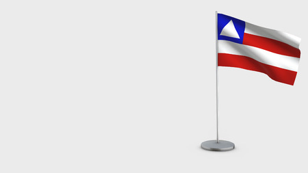 Bahia 3D Flag isolated on white background. Waving in wind on steel flagpole. Imagens
