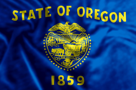 Oregon stylish waving and closeup flag illustration. Perfect for background or texture purposes.